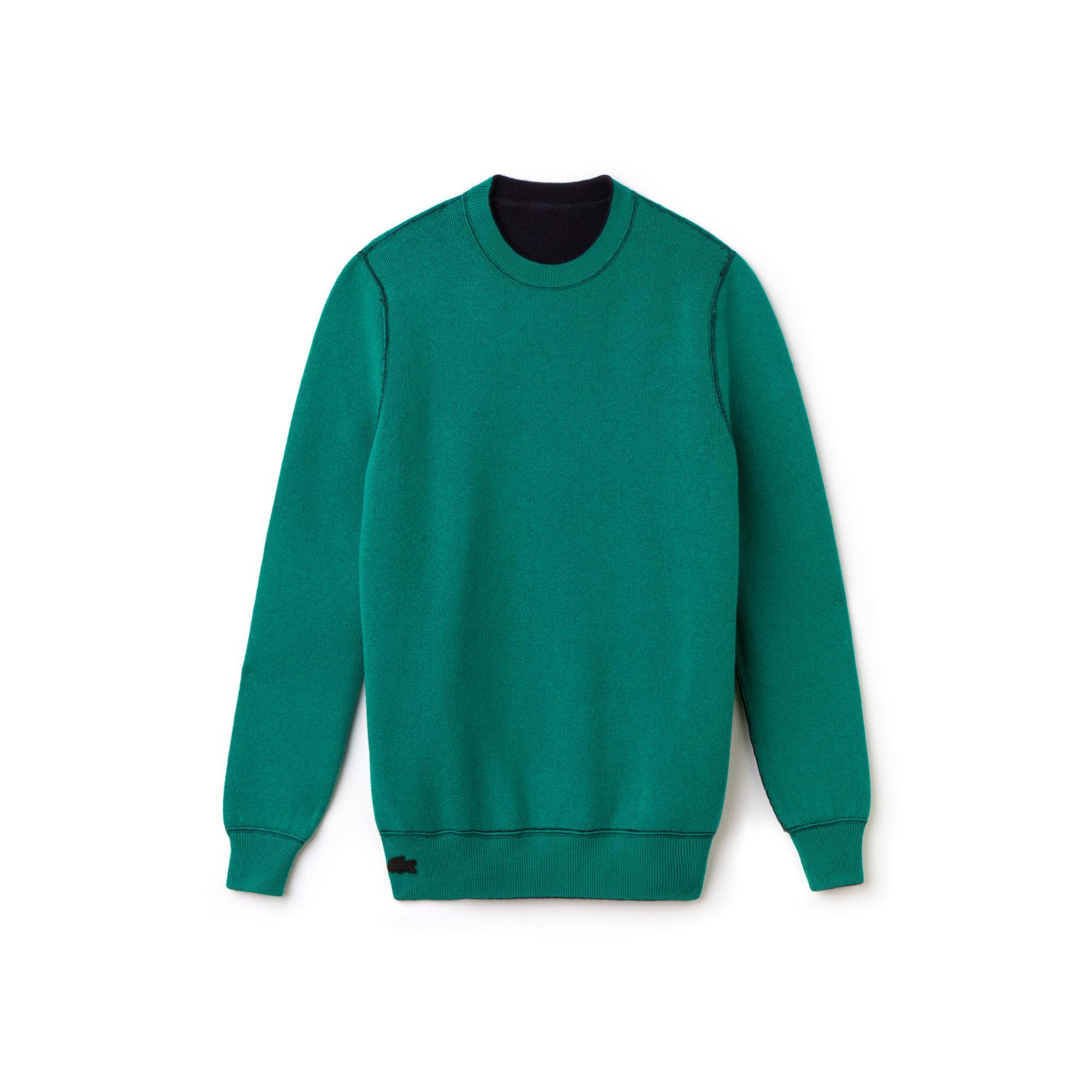 Lacoste L!VE Erkek Lacivert-Yeşil Triko Kazak
