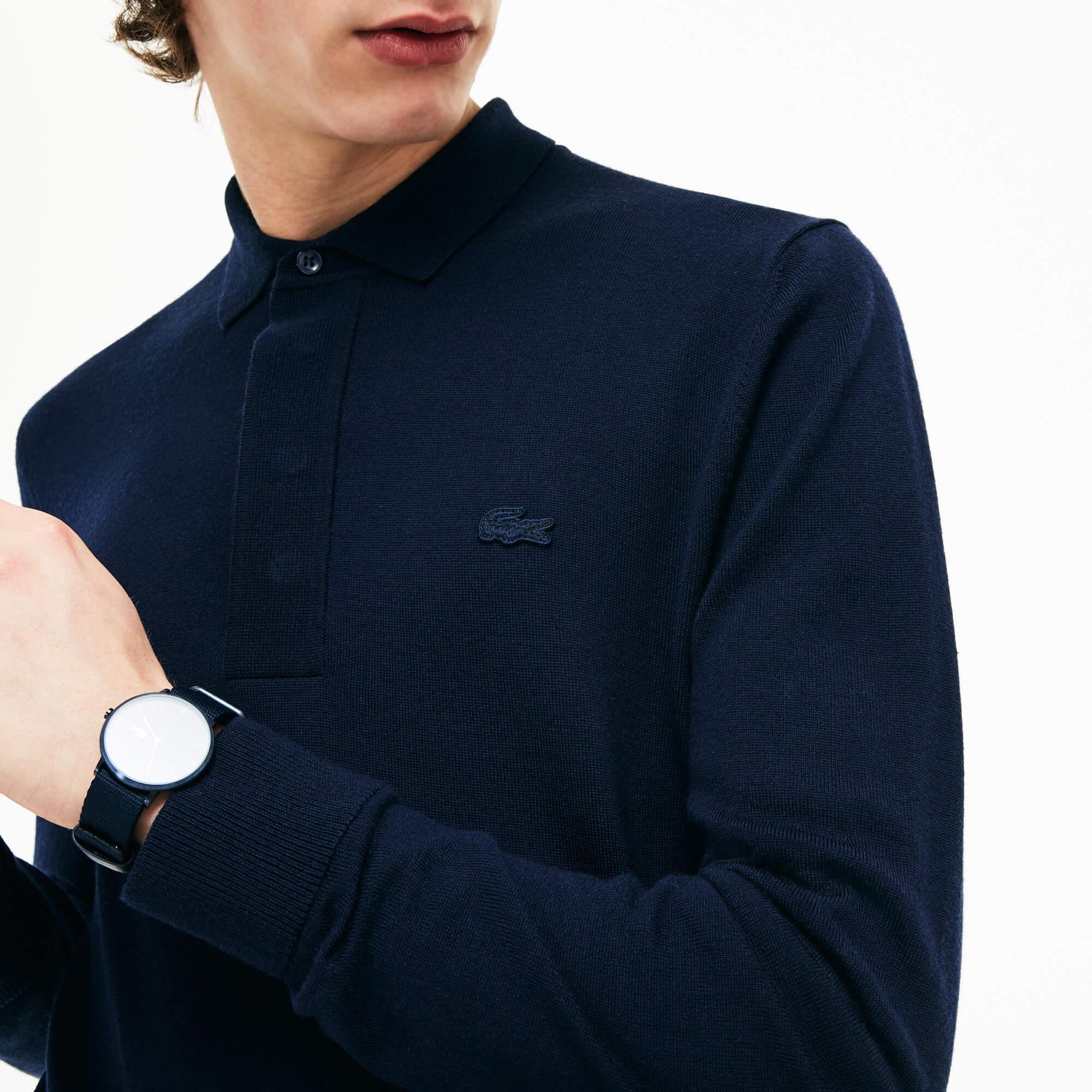 Lacoste Erkek Lacivert Düğme Yakalı Triko Kazak