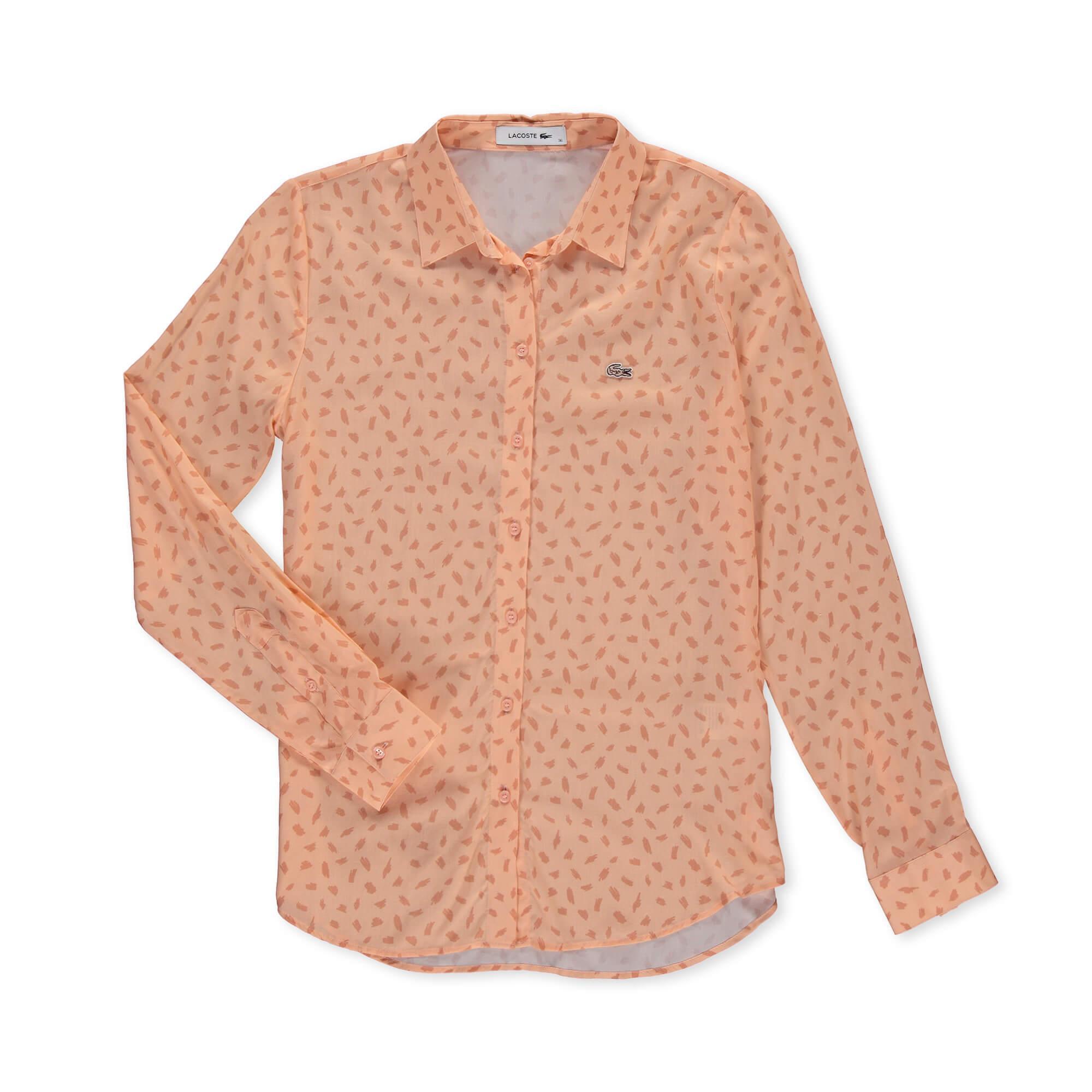 Lacoste Kadın Baskılı Pembe Gömlek