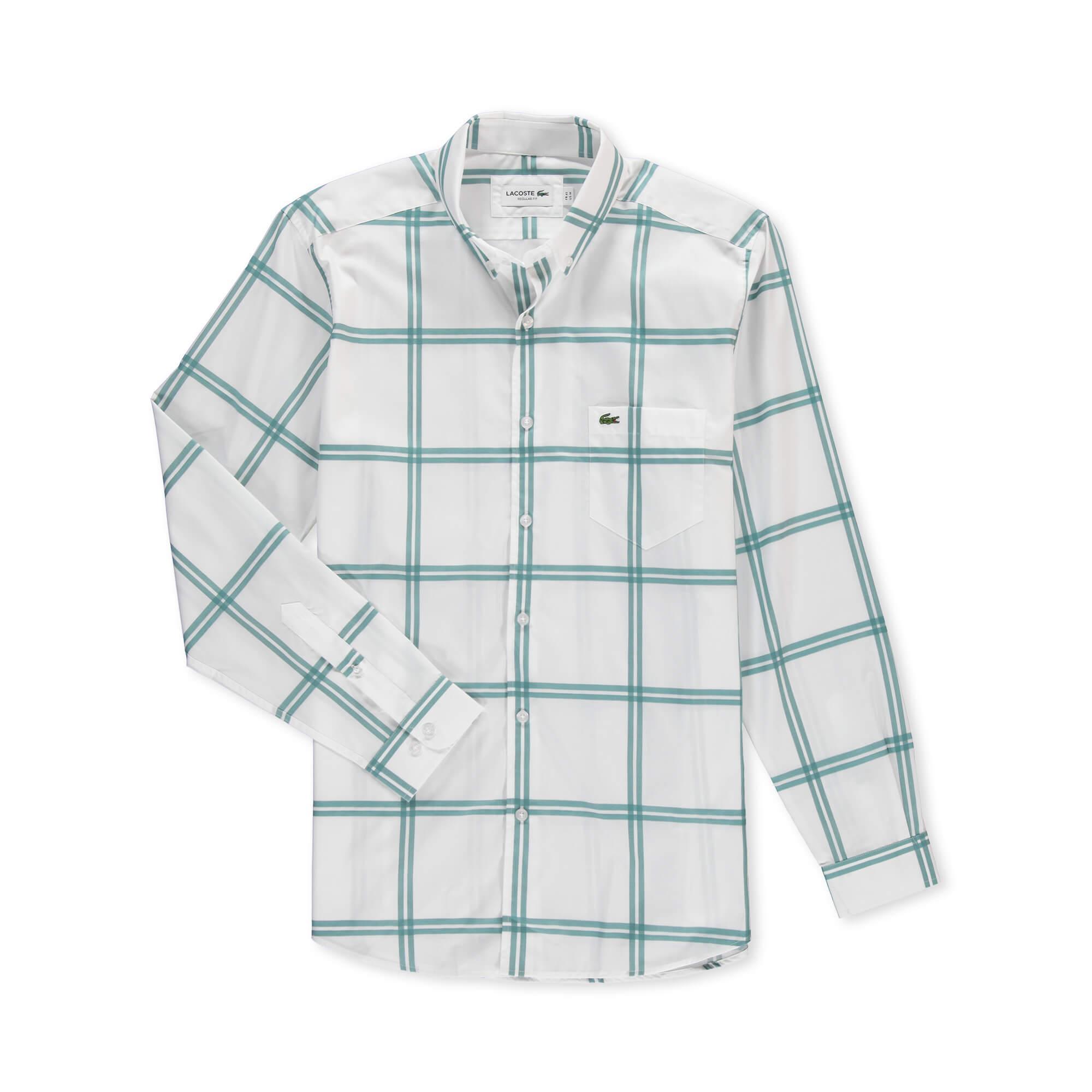 Lacoste Erkek Regular Fit Mavi Kareli Gömlek