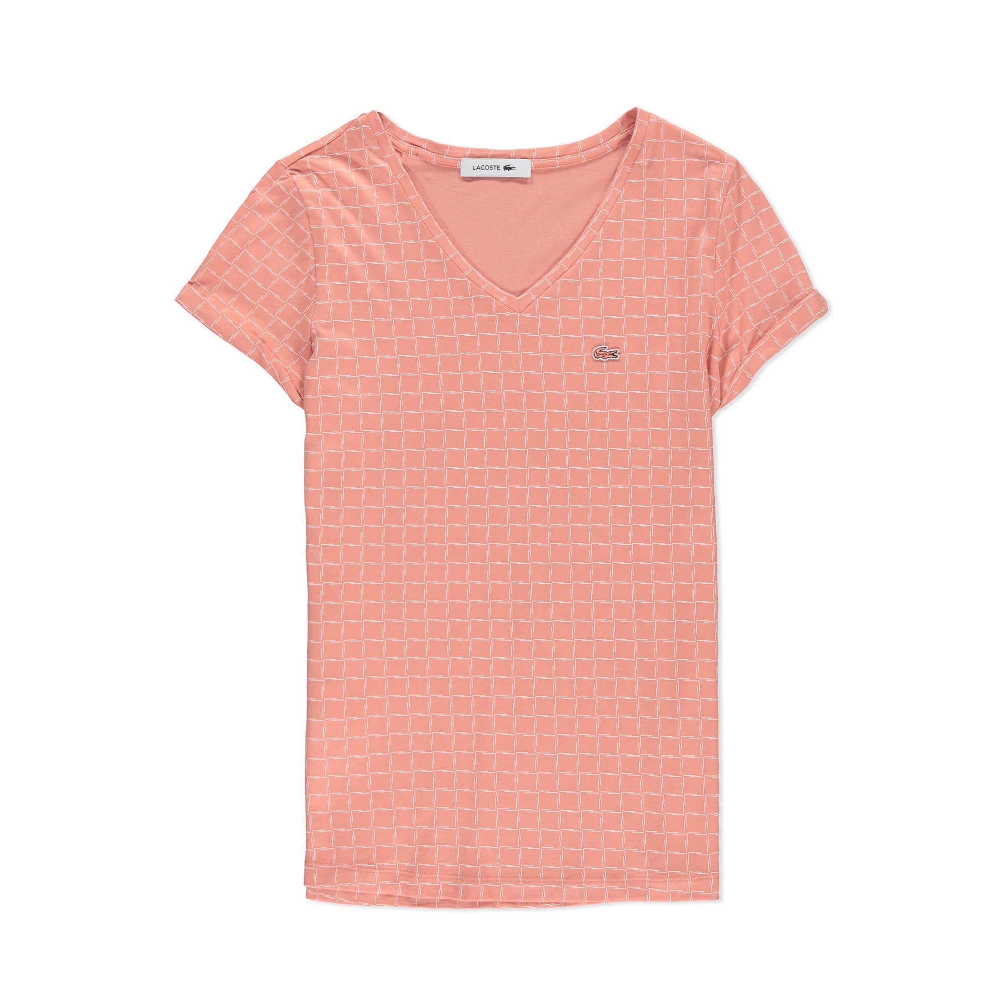 Lacoste Kadın Pembe V Yaka T-Shirt