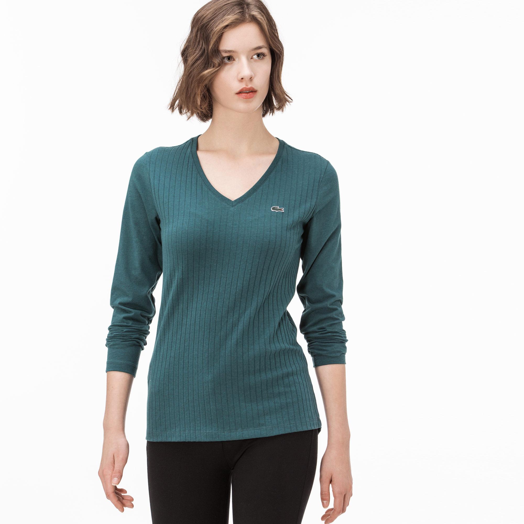 Lacoste Kadın Yeşil V Yaka T-Shirt