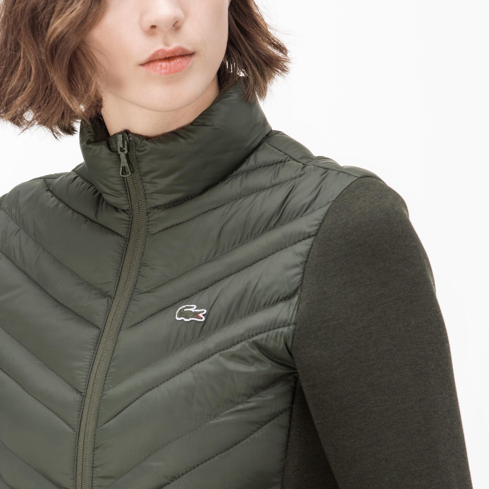 Lacoste Kadın Yeşil Kapitone Detaylı Fermuarlı Polar Sweatshirt