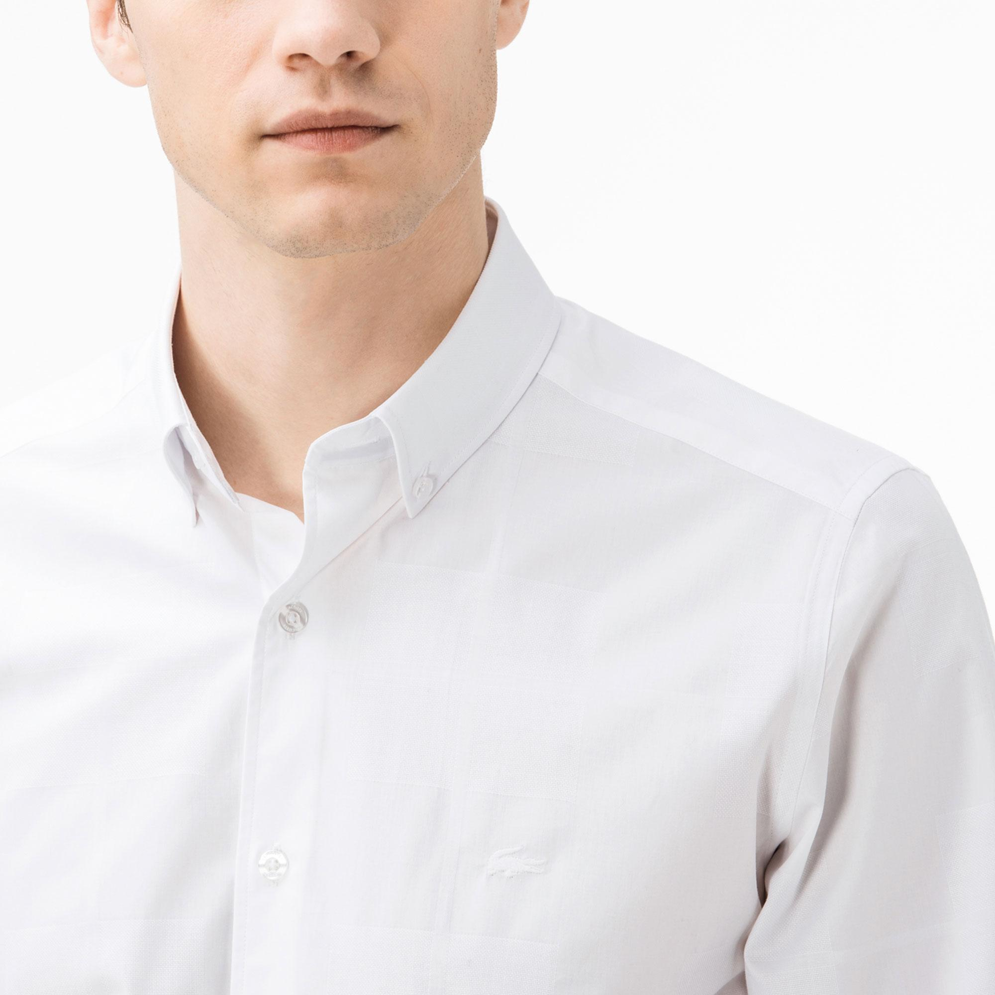 Lacoste Erkek Slim Fit Beyaz Ekose Gömlek