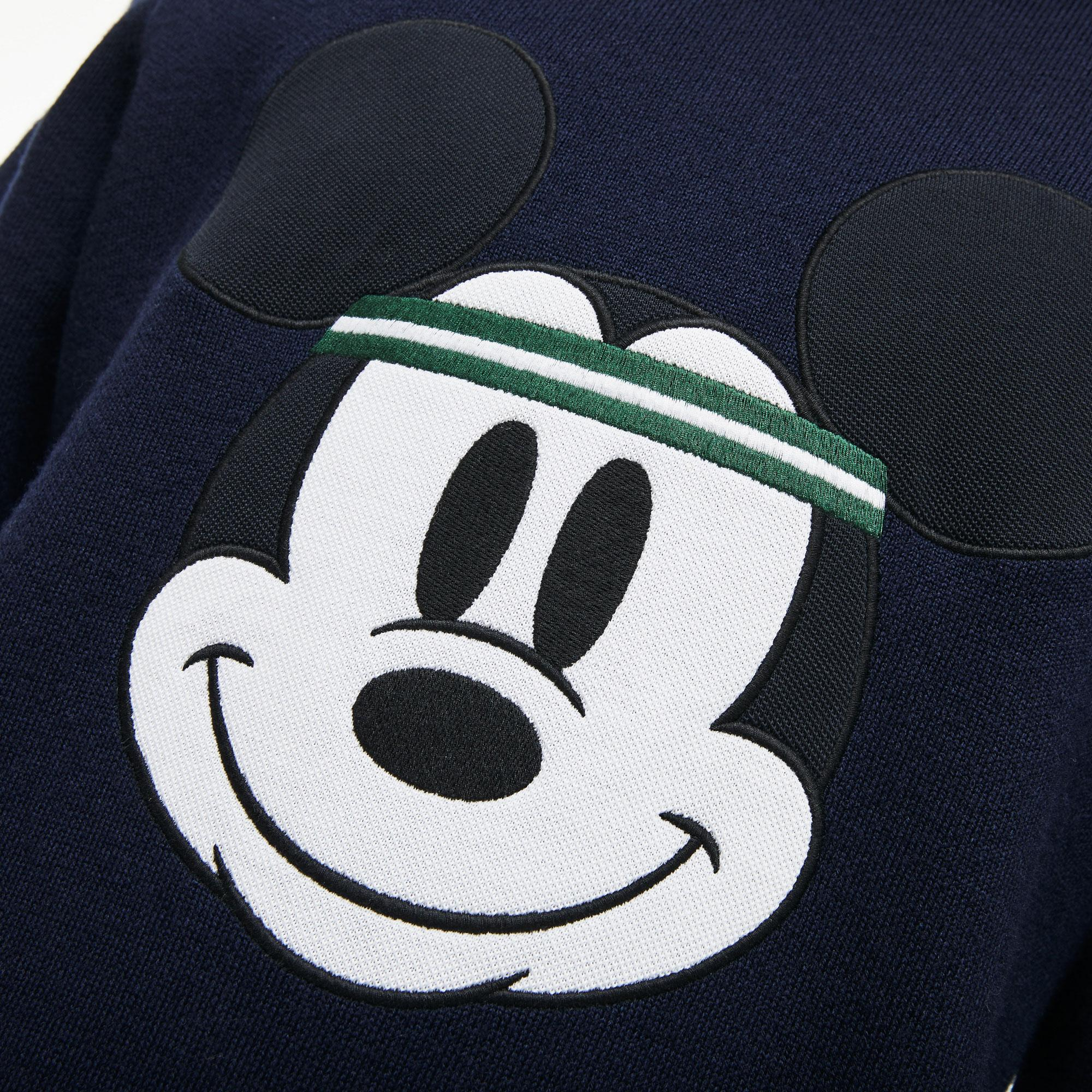 Lacoste X Disney Erkek Mickey İşlemeli Lacivert Bisiklet Yaka Triko Kazak