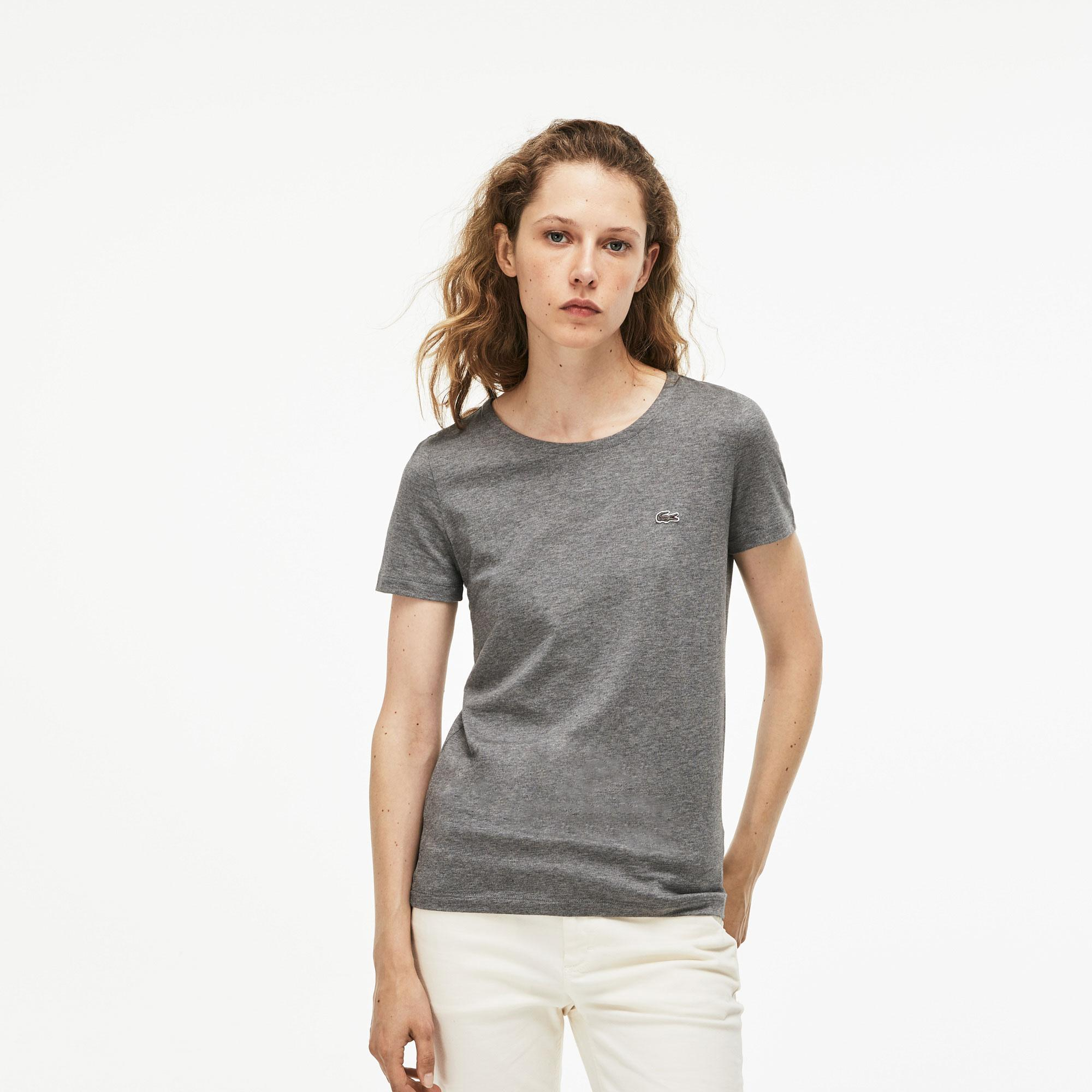 Lacoste Kadın Bisiklet Yaka Gri Kısa Kollu T-Shirt