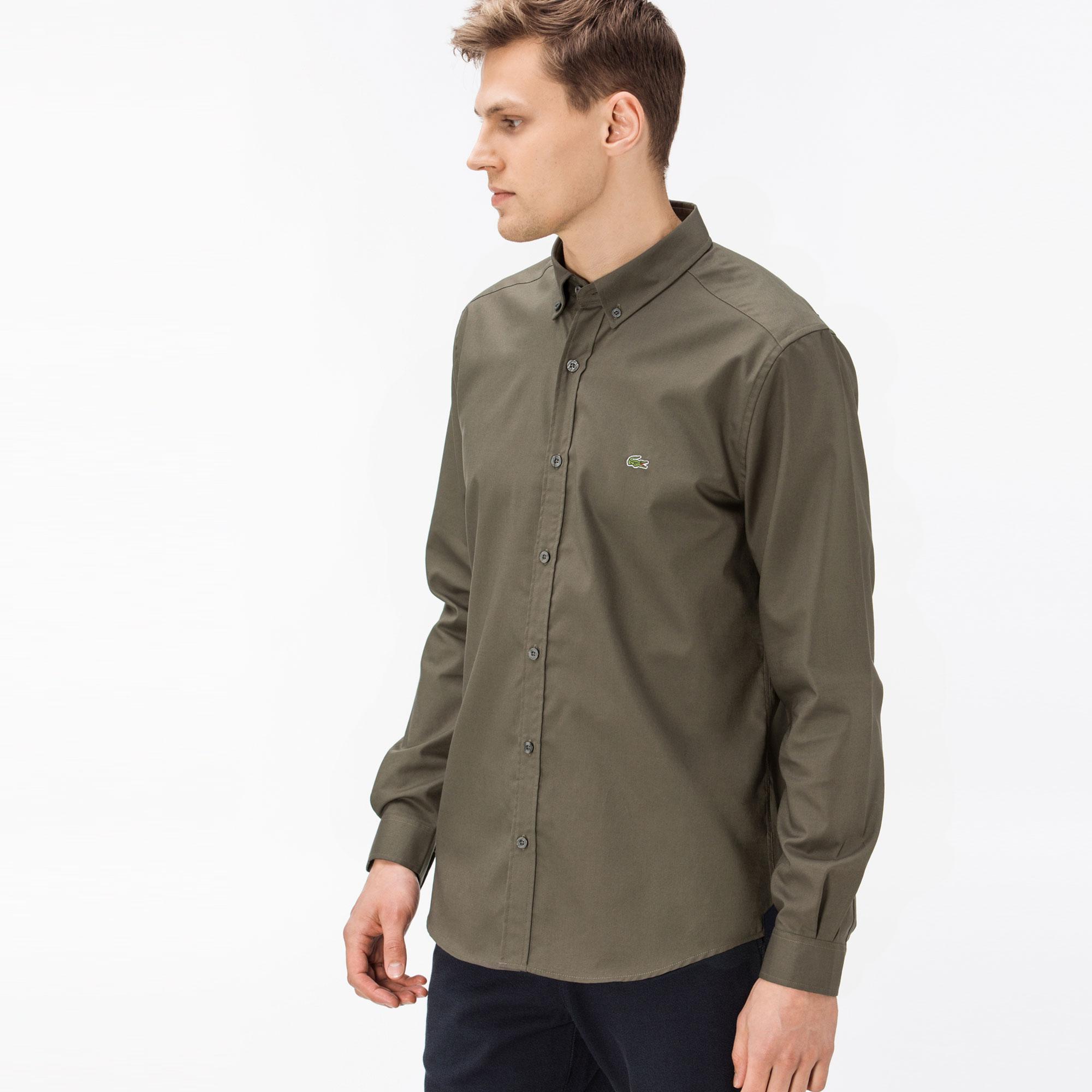 Lacoste Erkek Slim Fit Oxford Yeşil Gömlek