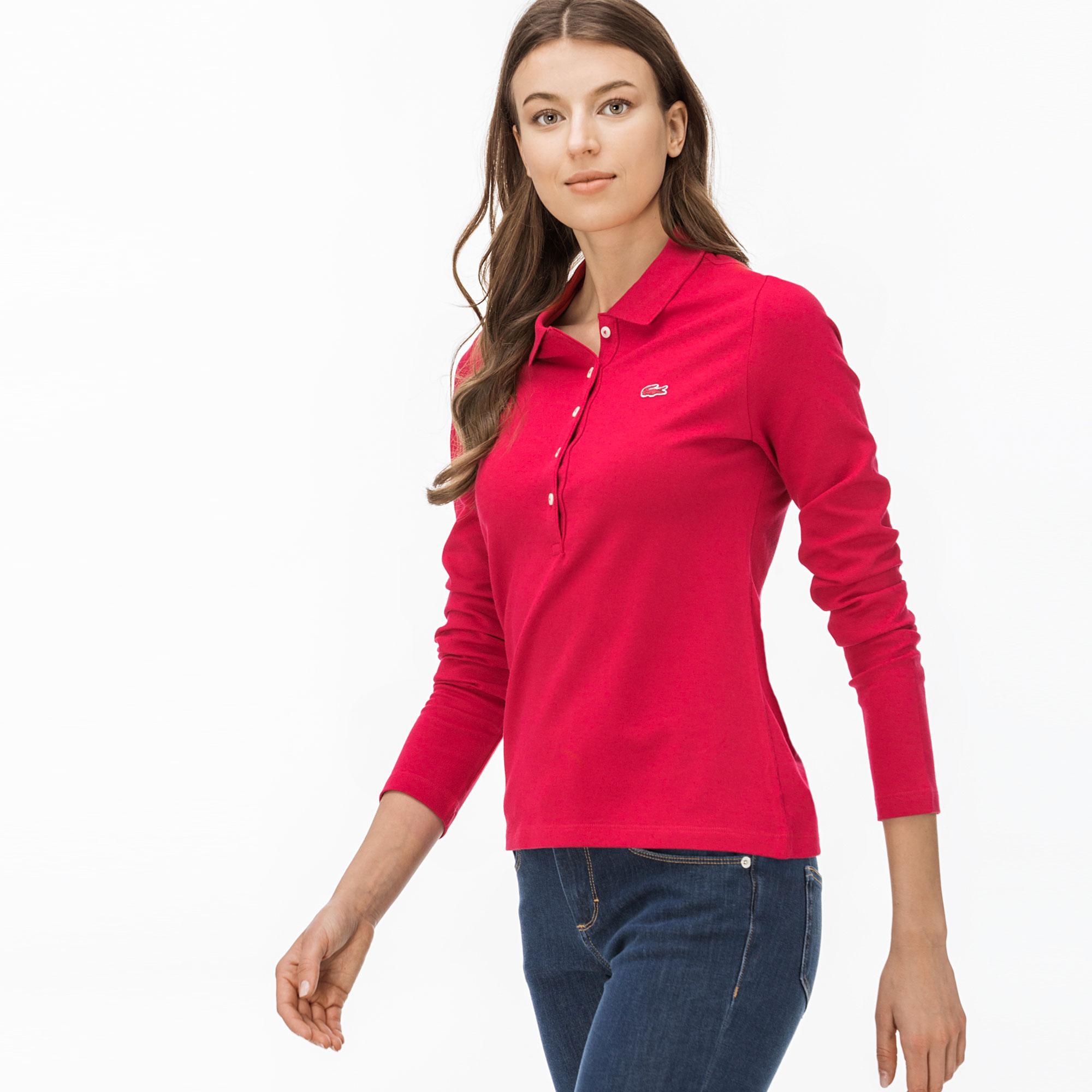 Lacoste Kadın Kırmızı Uzun Kollu Polo