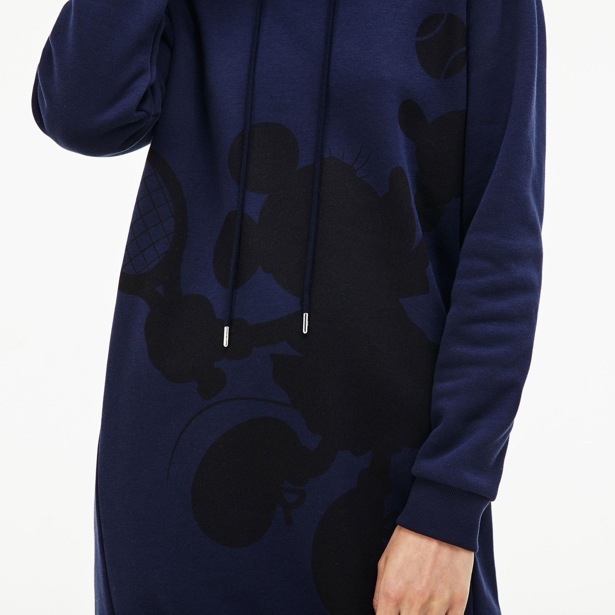 Lacoste X Disney Kadın Minnie Baskılı Kapüşonlu Lacivert Elbise