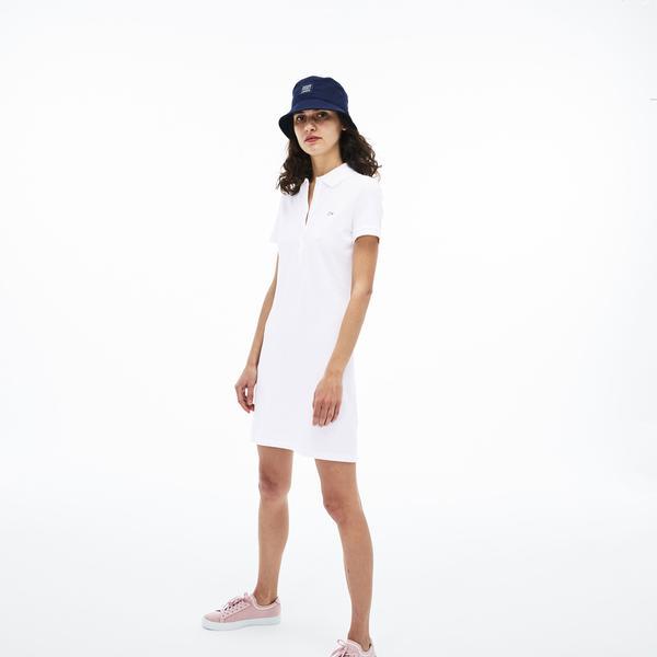 Lacoste Kadın Slim Fit Beyaz Elbise