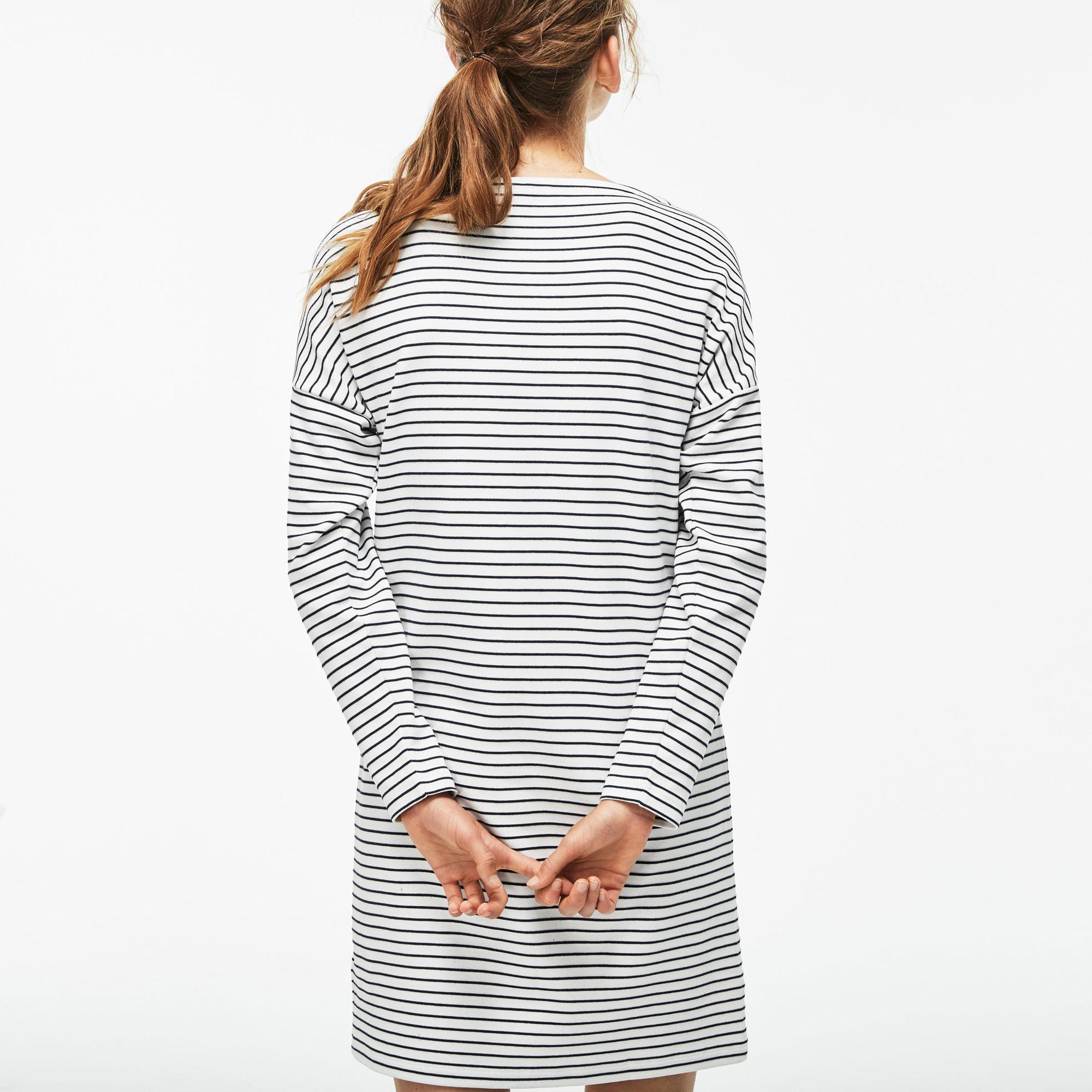 Lacoste Kadın Çizgili Kayık Yaka Krem-Lacivert Elbise