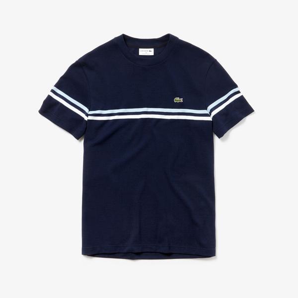 Lacoste Erkek Çizgili Lacivert T-Shirt