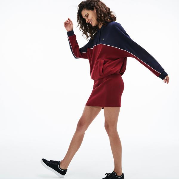 Lacoste Kadın Blok Desenli Polo Yaka Lacivert-Bordo Elbise