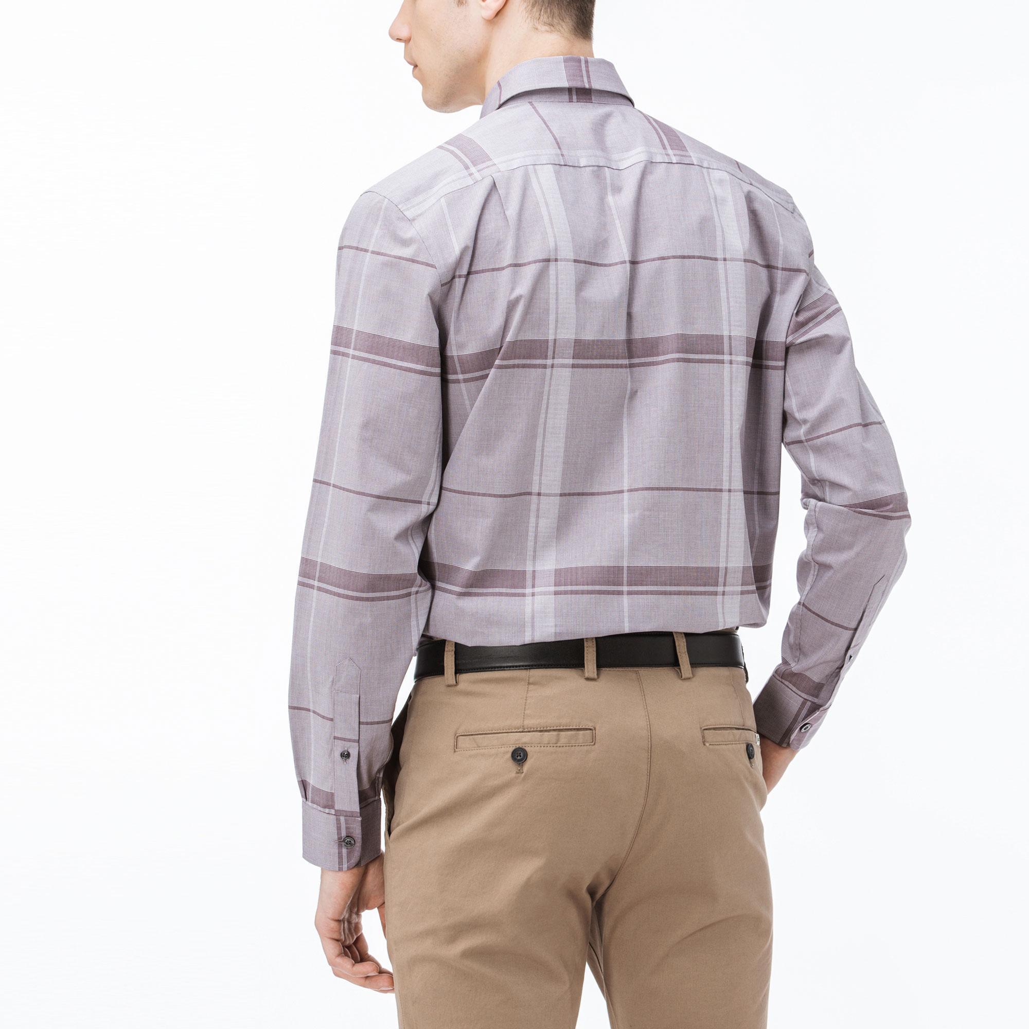 Lacoste Erkek Regular Fit Ekose Bordo-Gri Gömlek