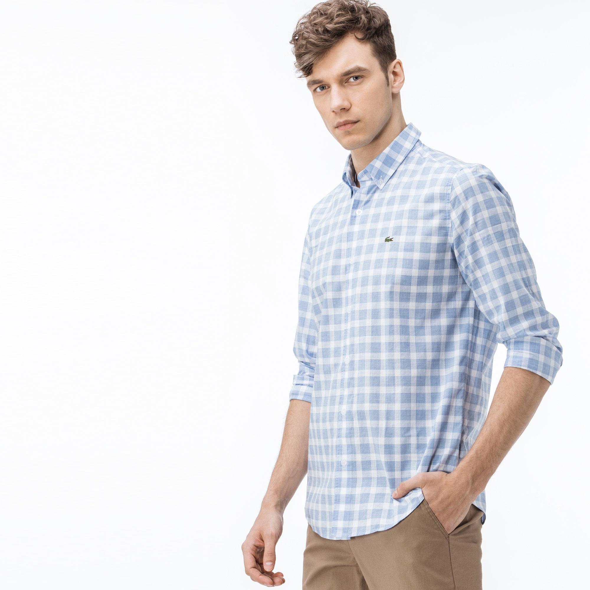 Lacoste Erkek Slim Fit Ekose Mavi-Beyaz Gömlek