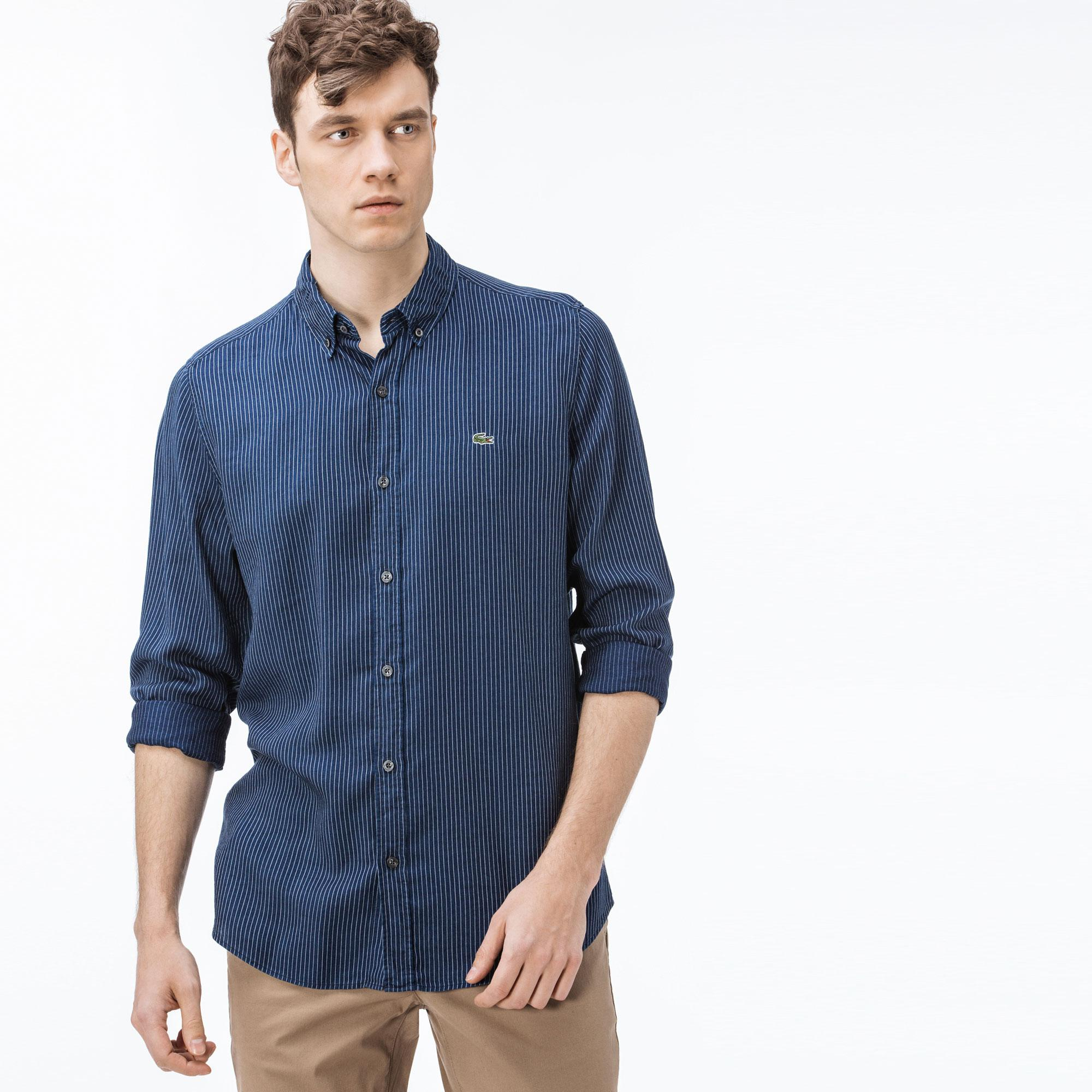 Lacoste Erkek Slim Fit Çizgili Lacivert Gömlek
