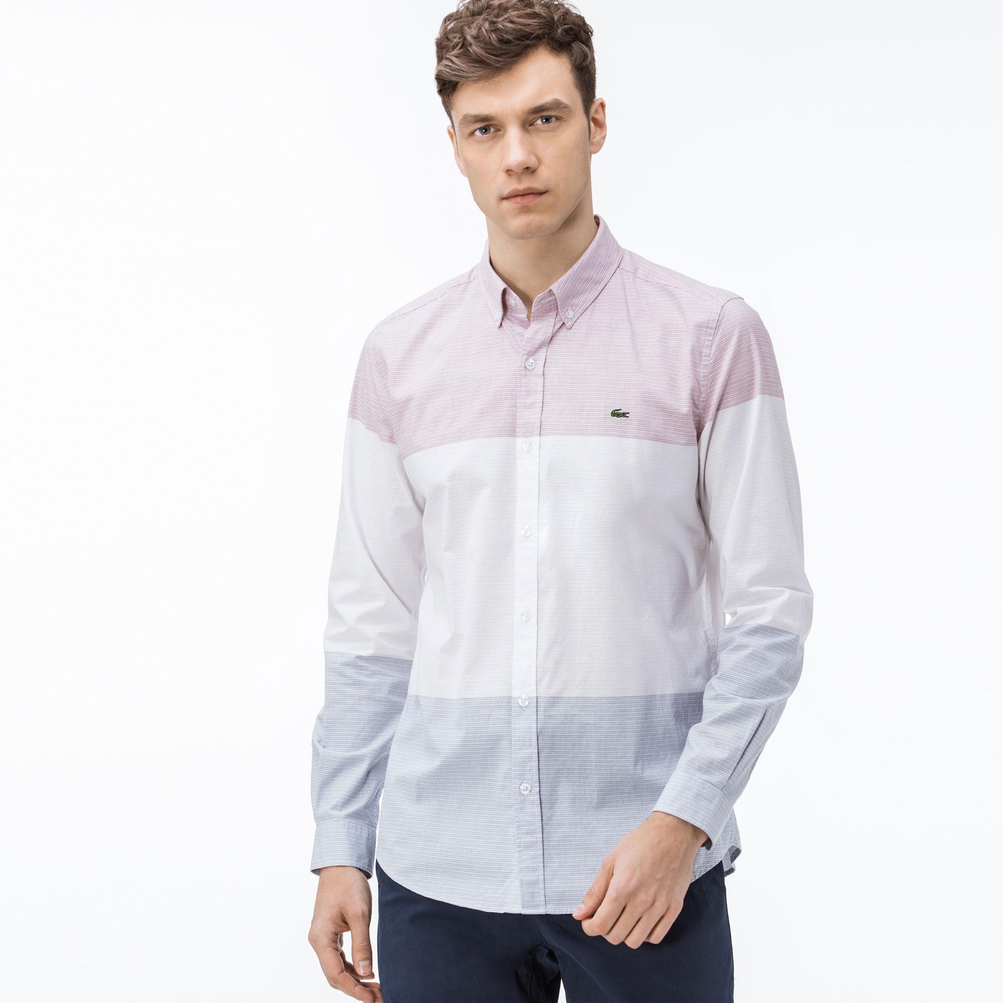 f079791f25d14 Lacoste Erkek Slim Fit Blok Desenli Renkli Gömlek
