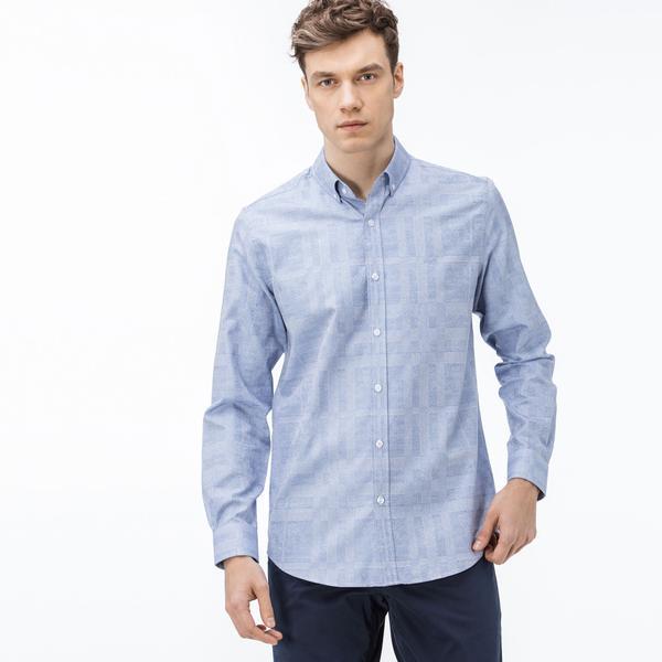 Lacoste Erkek Slim Fit Ekose Mavi Gömlek