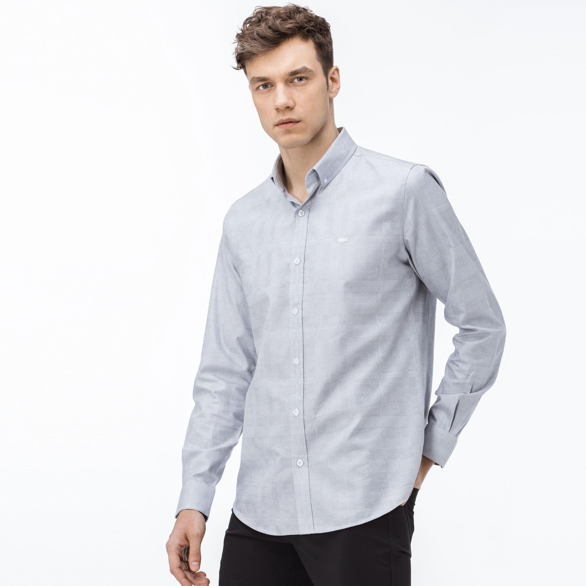 Lacoste Erkek Slim Fit Ekose Beyaz Gömlek