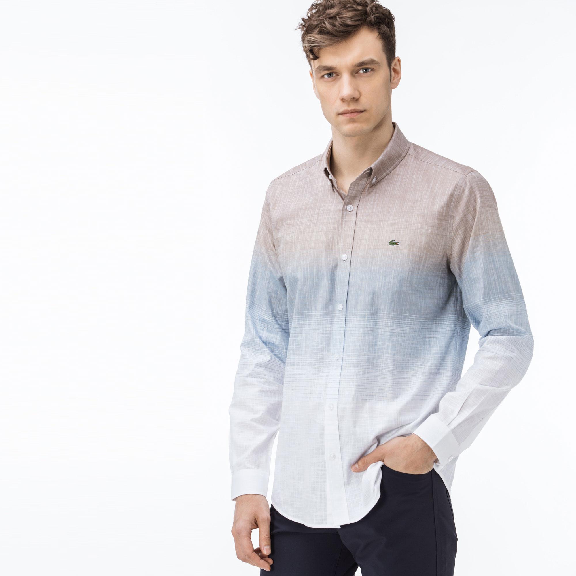 1043df3a667d0 Lacoste Erkek Slim Fit Renkli Degrade Gömlek CH0924-24K   Lacoste