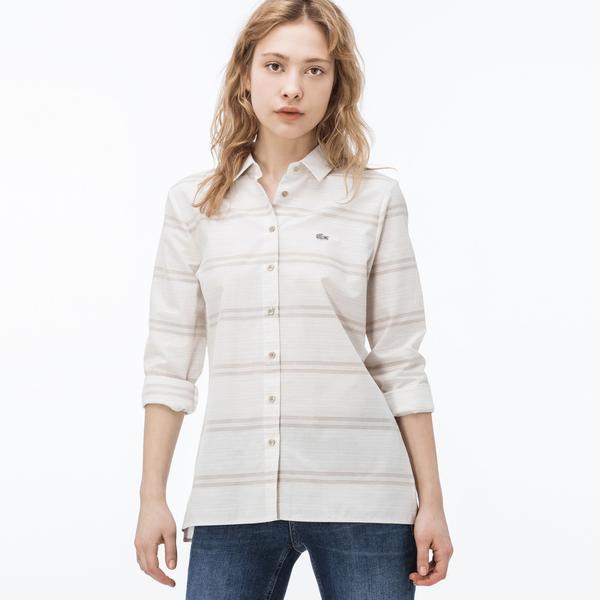 Lacoste Kadın Çizgili Kahverengi Gömlek