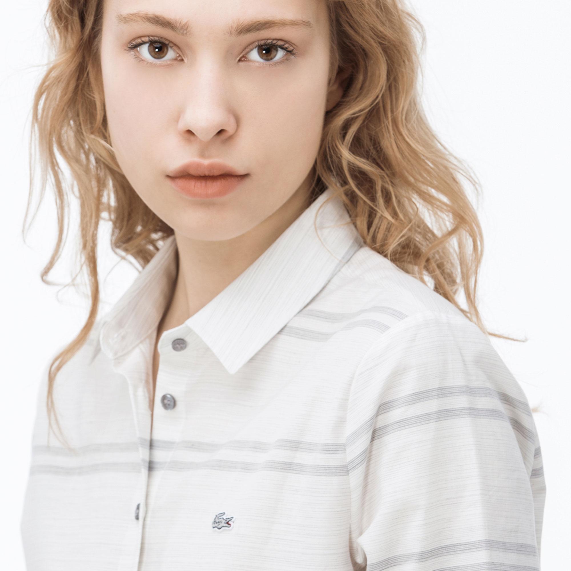 Lacoste Kadın Çizgili Gri Gömlek