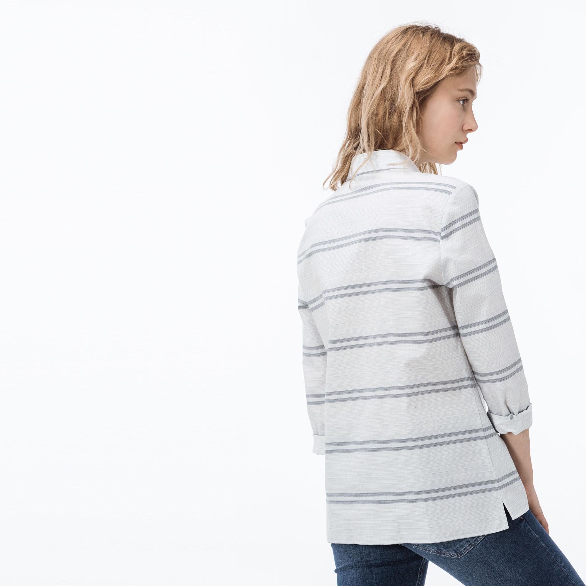 Lacoste Kadın Çizgili Lacivert Gömlek