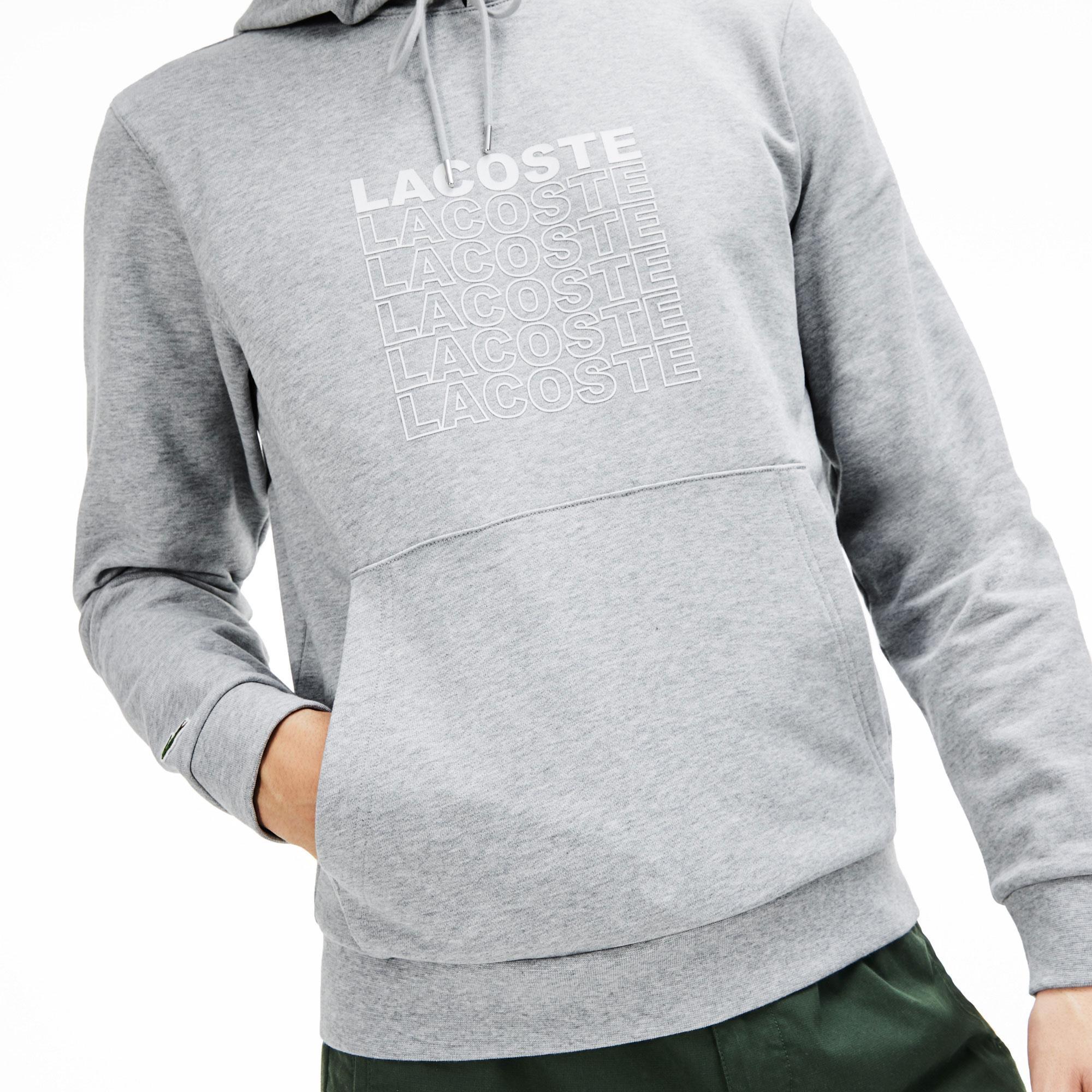 Lacoste Erkek Lacoste Baskılı Kapüşonlu Gri Sweatshirt