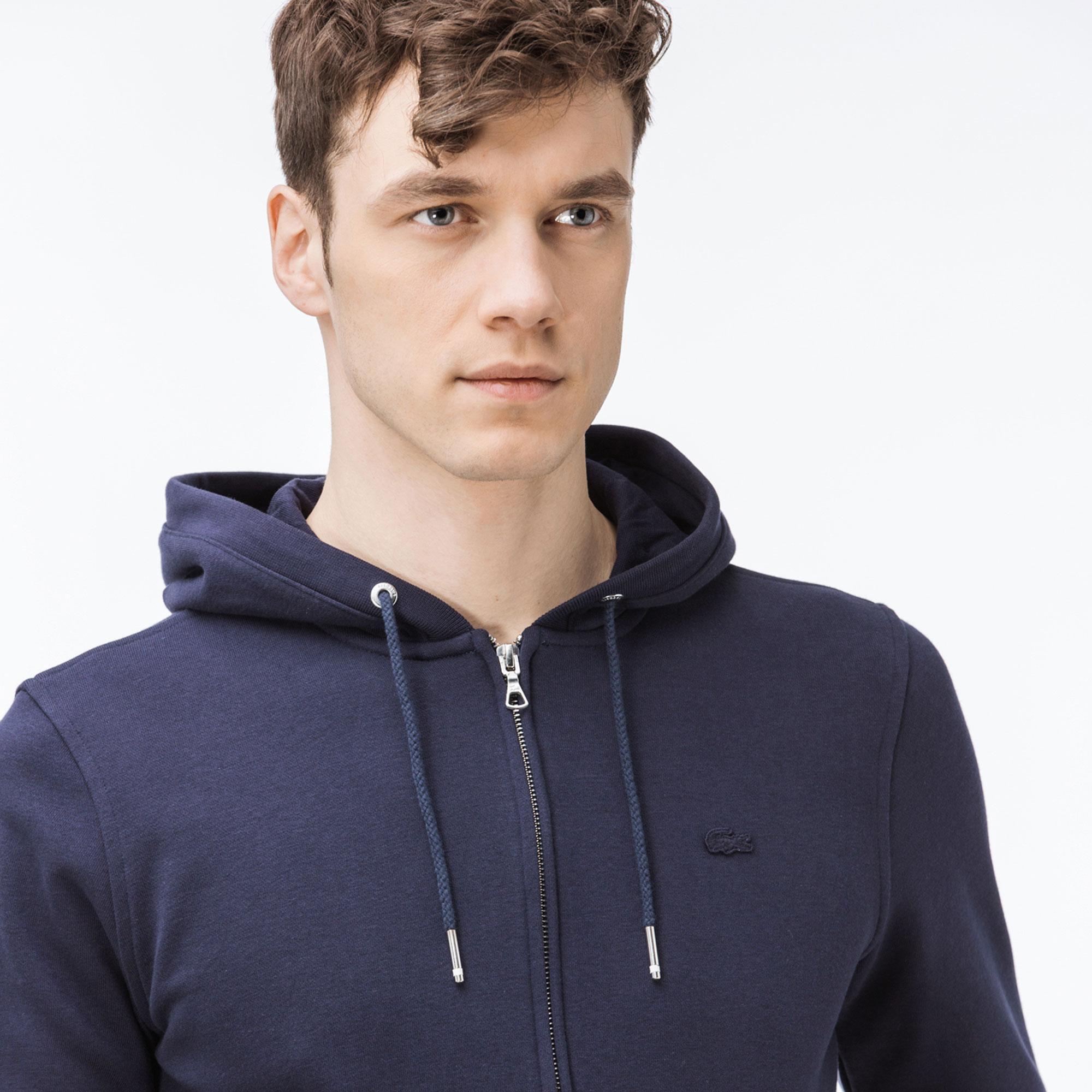 Lacoste Erkek Lacivert Kapüşonlu Fermuarlı Sweatshirt