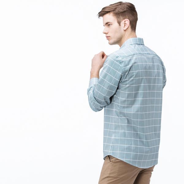 Lacoste Erkek Slim Fit Yeşil - Beyaz Çizgili Gömlek