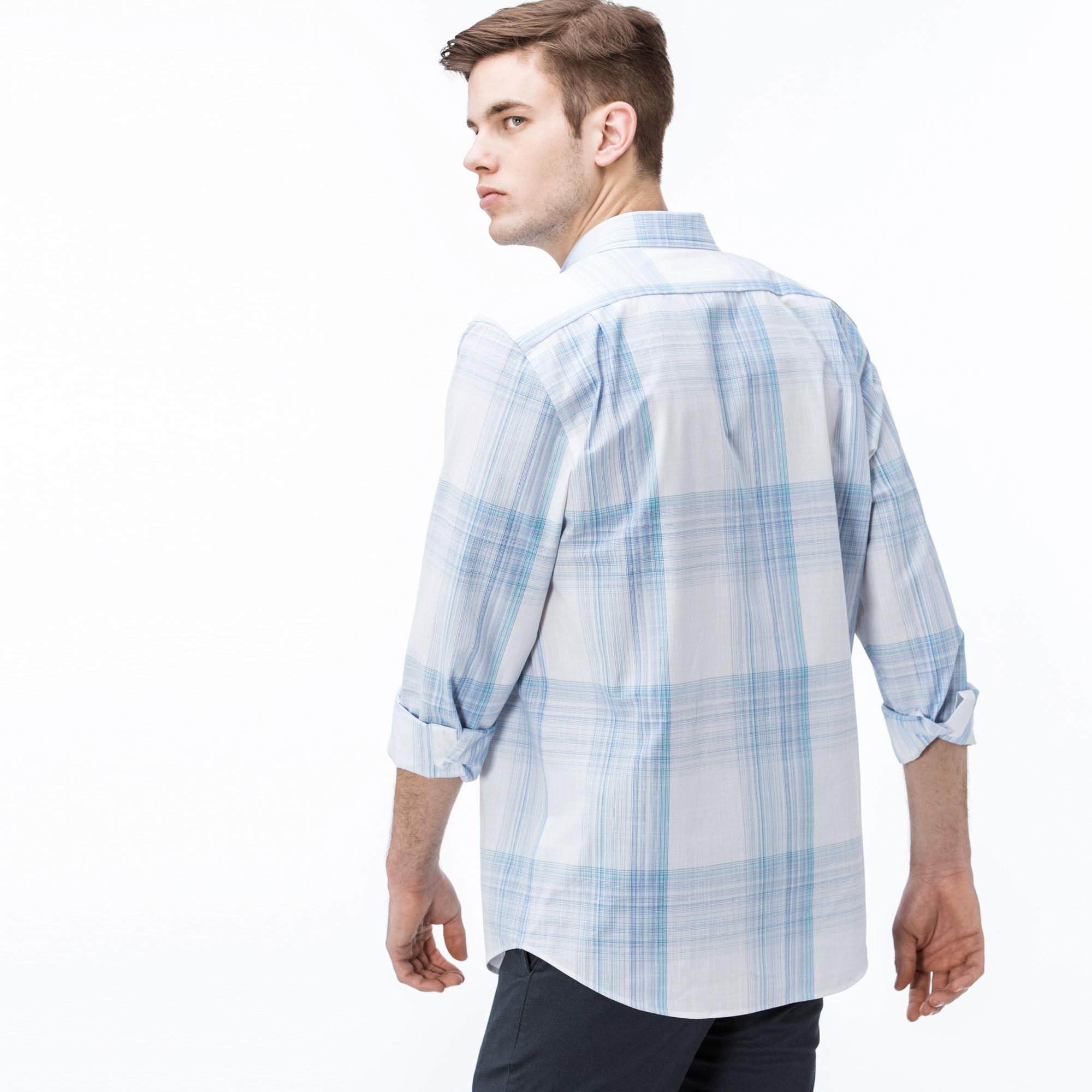 Lacoste Erkek Regular Fit Ekose Mavi Gömlek