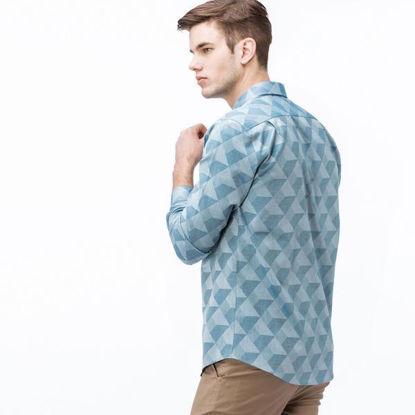 Lacoste Erkek Slim Fit Grafik Desenli Mavi Gömlek