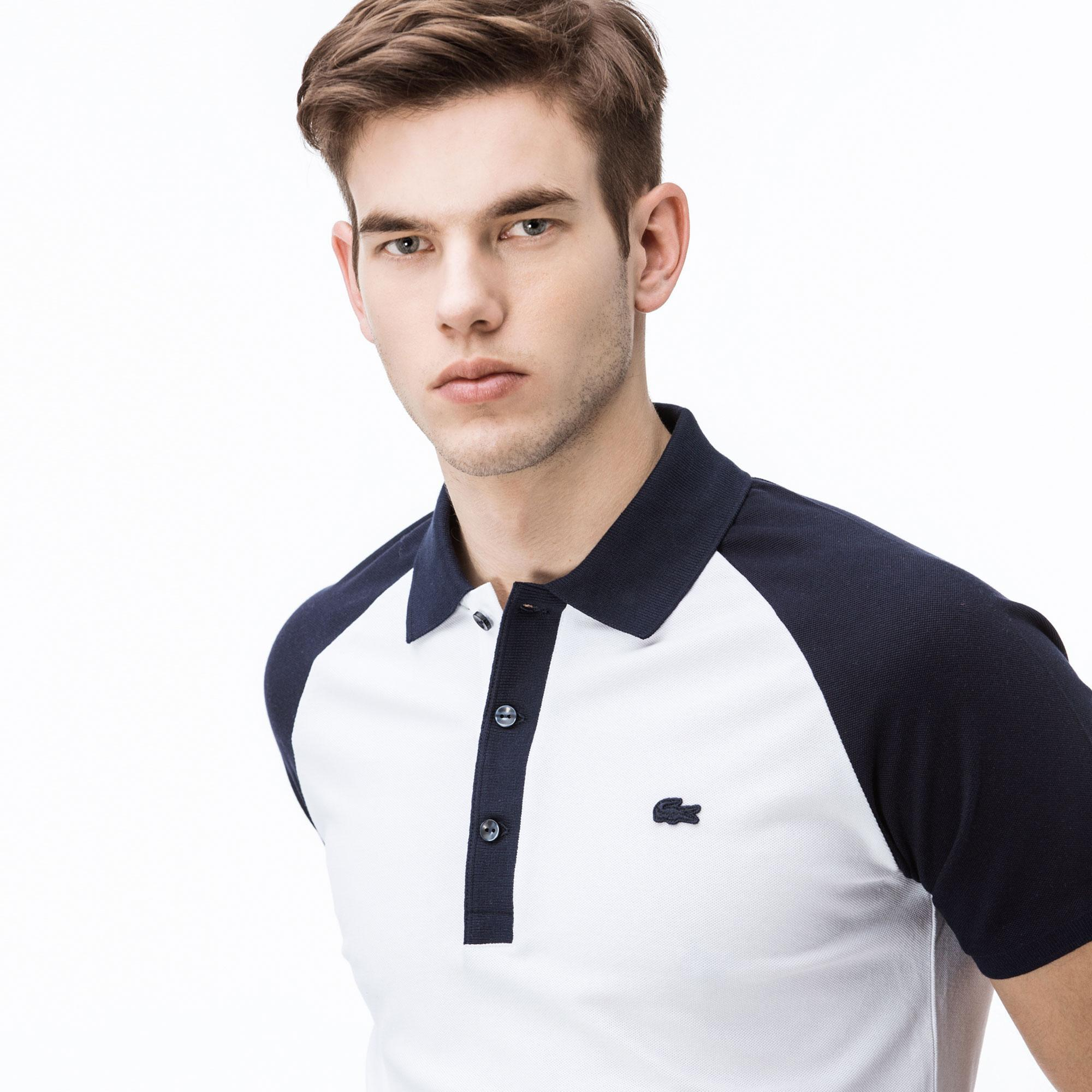 Lacoste Erkek Slim Fit Beyaz - Lacivert Renk Bloklu Polo