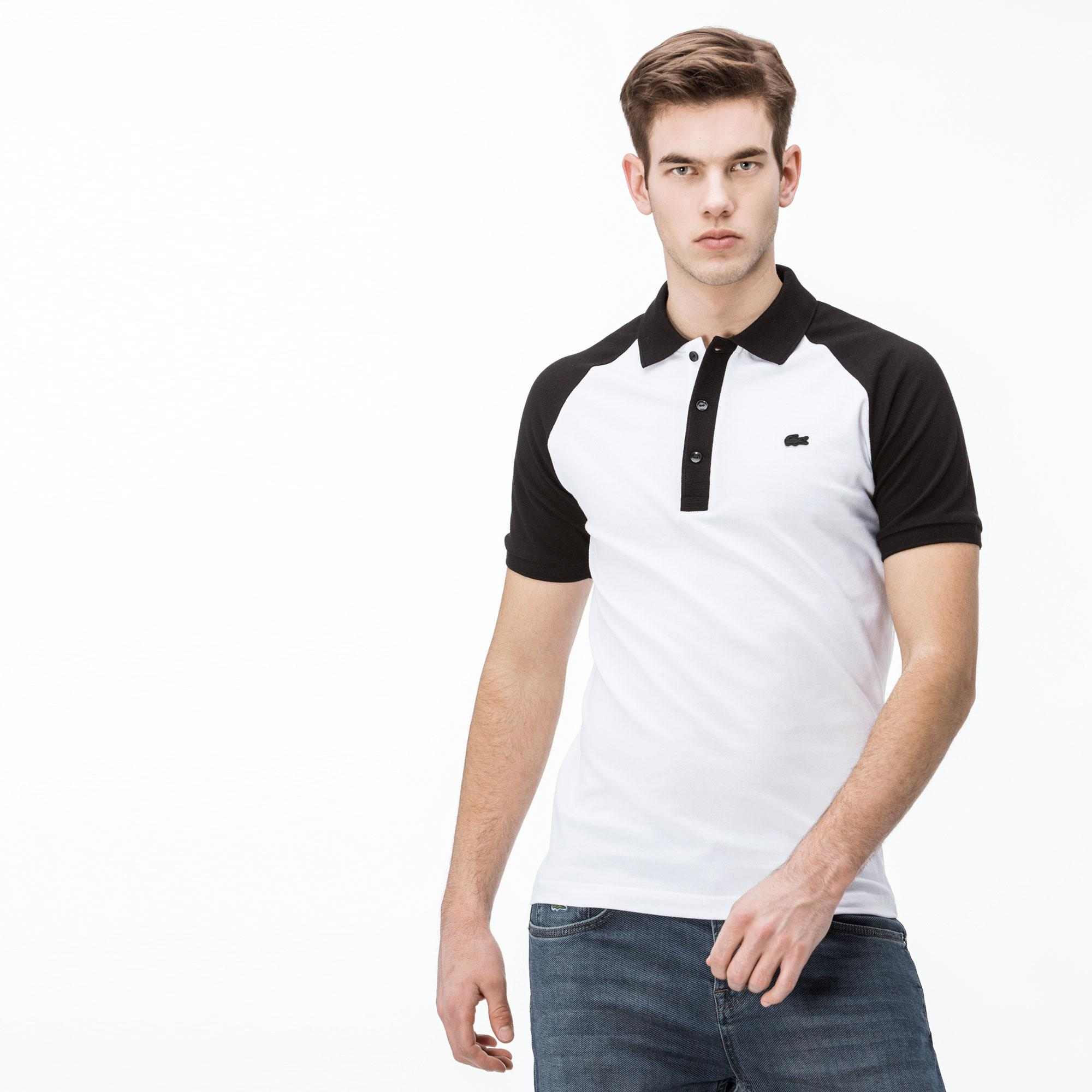 Lacoste Erkek Slim Fit Siyah - Beyaz Renk Bloklu Polo