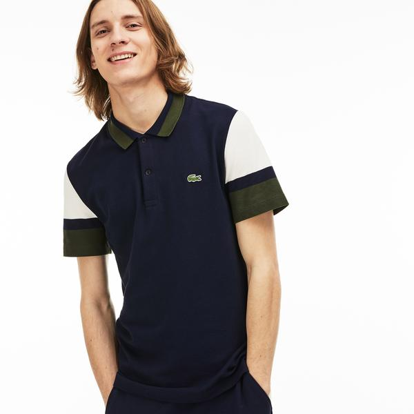 Lacoste Erkek Slim Fit Lacivert - Beyaz - Yeşil Renk Bloklu Polo