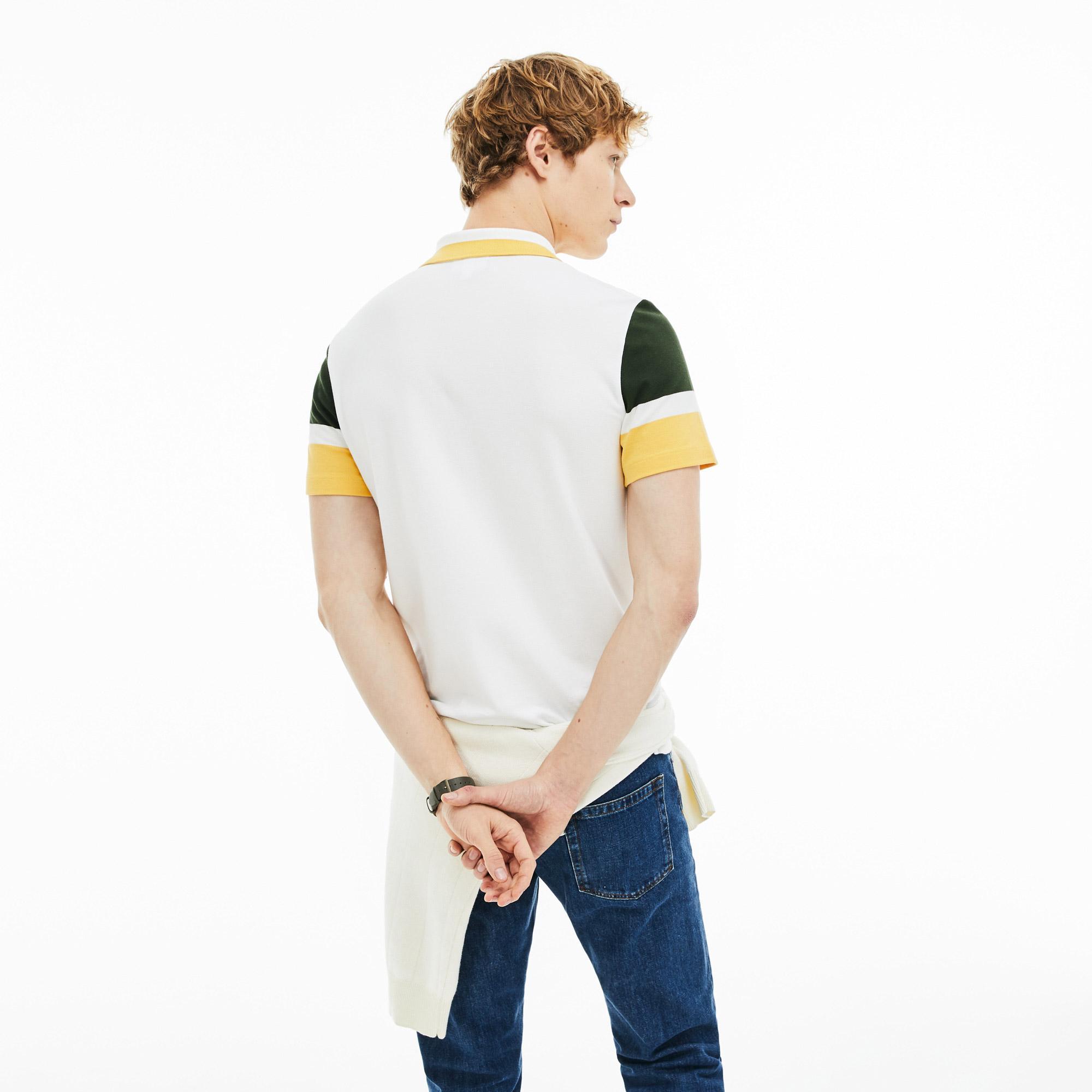 Lacoste Erkek Slim Fit Beyaz - Sarı - Yeşil Renk Bloklu Polo