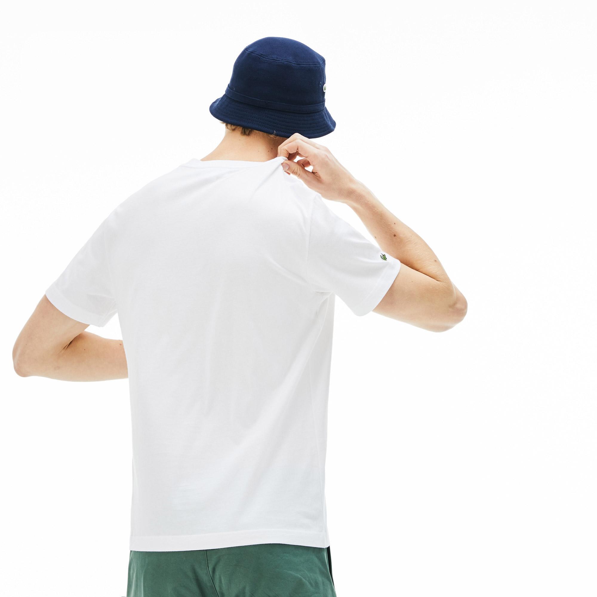Lacoste Erkek Lazer Timsah Baskılı Bisiklet Yaka Beyaz T-Shirt