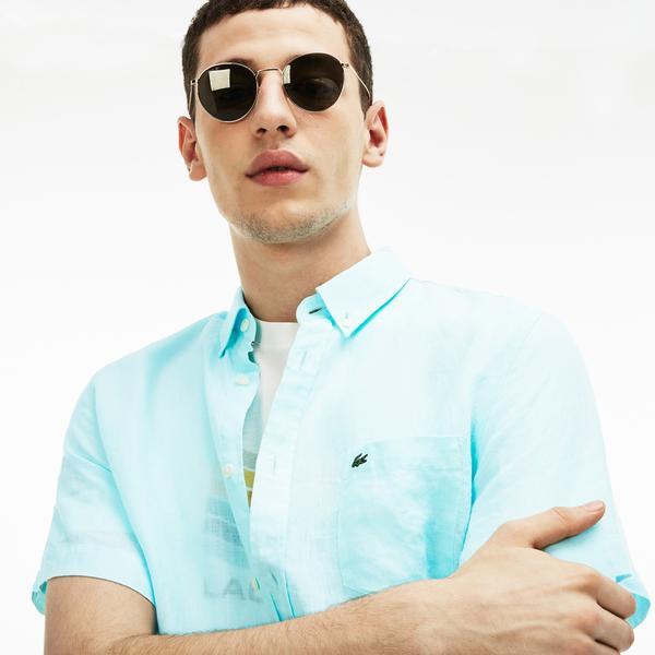 Lacoste Erkek Regular Fit Açık Mavi Kısa Kollu Gömlek