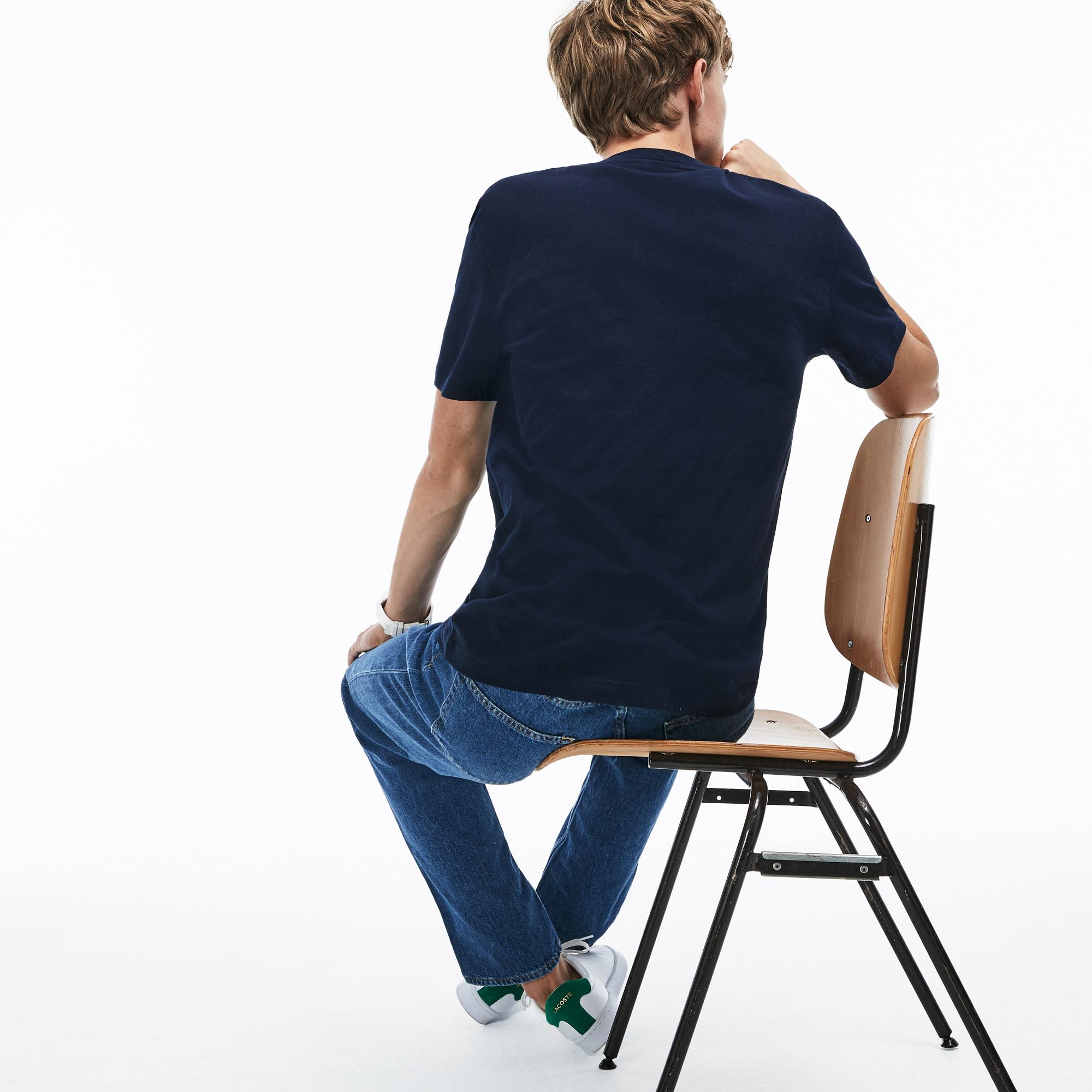 Lacoste Erkek Regular Fit Timsah Baskılı Bisiklet Yaka Lacivert T-Shirt