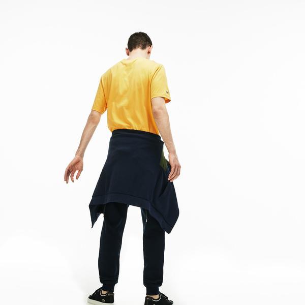 Lacoste Erkek Relax Fit Lacoste Baskılı Bisiklet Yaka Sarı T-Shirt