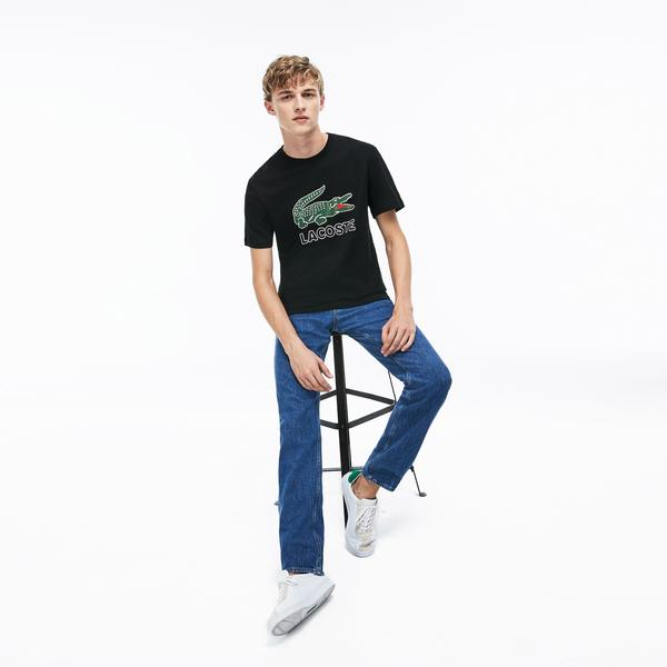 Lacoste Erkek Regular Fit Timsah Baskılı Bisiklet Yaka Siyah T-Shirt
