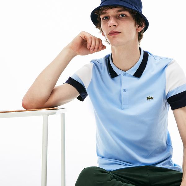 Lacoste Erkek Slim Fit Mavi - Lacivert - Beyaz Renk Bloklu Polo