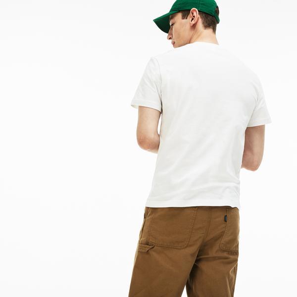 Lacoste Erkek Regular Fit Timsah Baskılı Bisiklet Yaka Beyaz T-Shirt