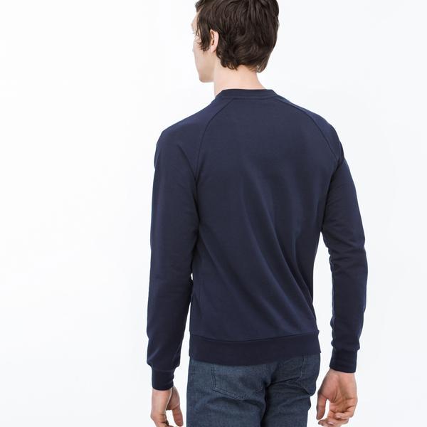 Lacoste Erkek Bisiklet Yaka Baskı Desenli Lacivert Sweatshirt