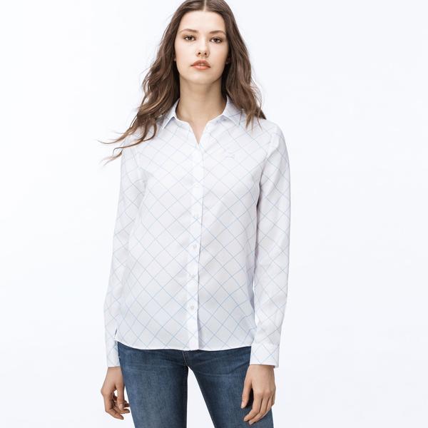 Lacoste Kadın Kareli Beyaz Gömlek