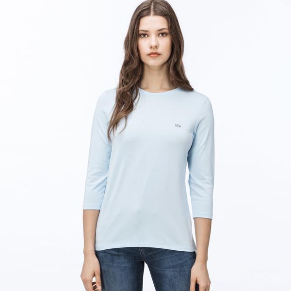 Lacoste Kadın Açık Mavi Bisiklet Yaka Uzun Kollu T-Shirt