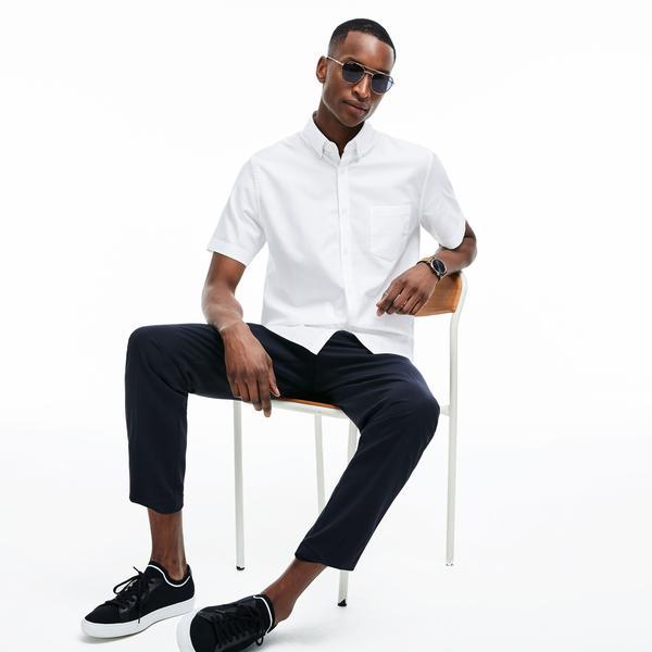 Lacoste Erkek Klasik Fit Beyaz Kısa Kollu Gömlek