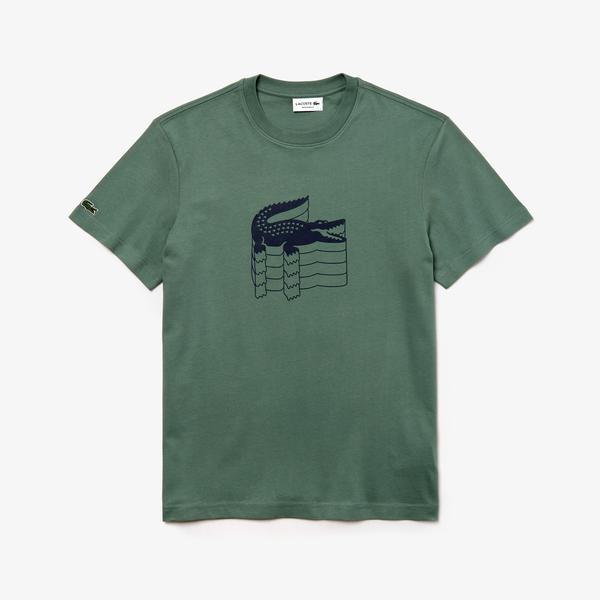 Lacoste Erkek Lazer Timsah Baskılı Bisiklet Yaka Haki T-Shirt