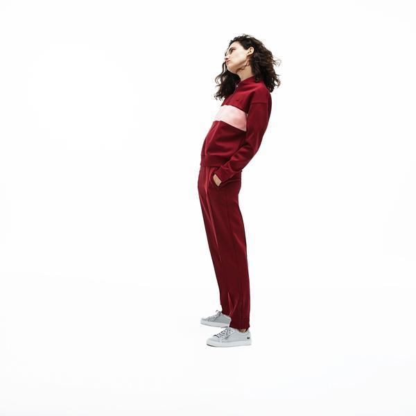 Lacoste Kadın Bordo - Pembe Renk Bloklu Sweatshirt