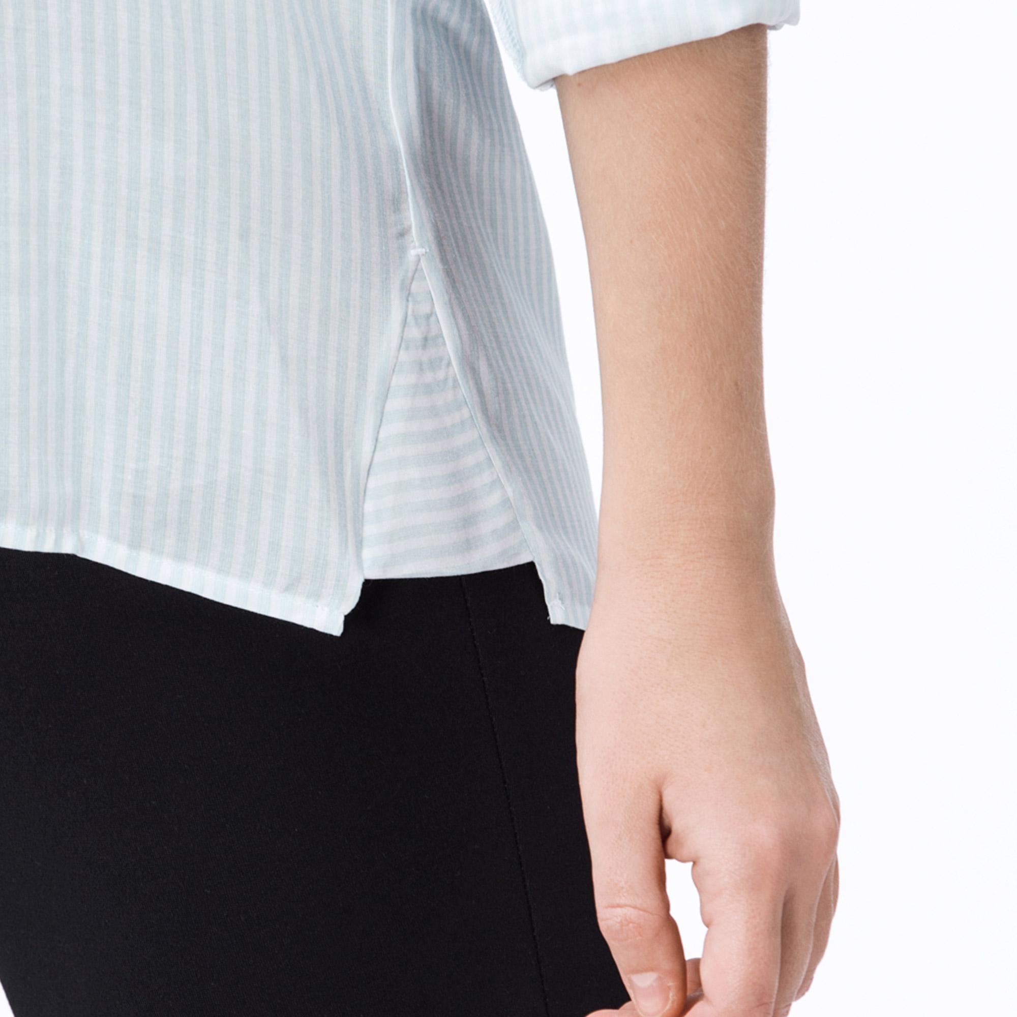 Lacoste Kadın Yeşil-Beyaz Çizgili Gömlek